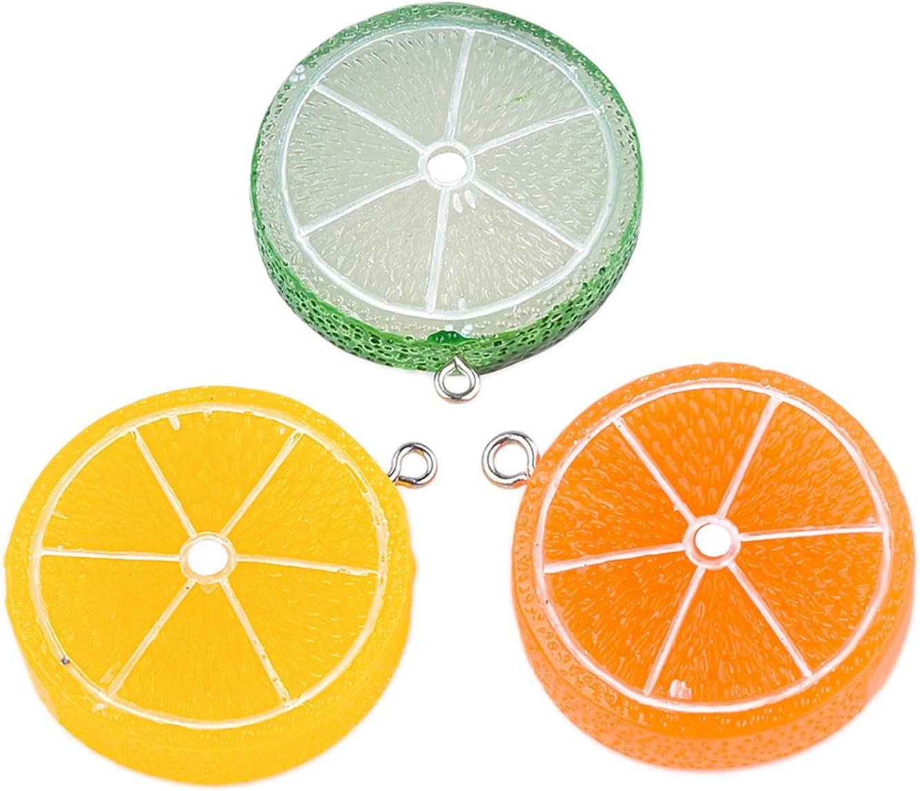 PH PandaHall 5pcs Lemon Resin Pendants Charms Mixed Colors Imitation Food Fruit Pendants Resin Charms Beads Hanging Ornament for Earring Bracelet Necklace Jewelry Making