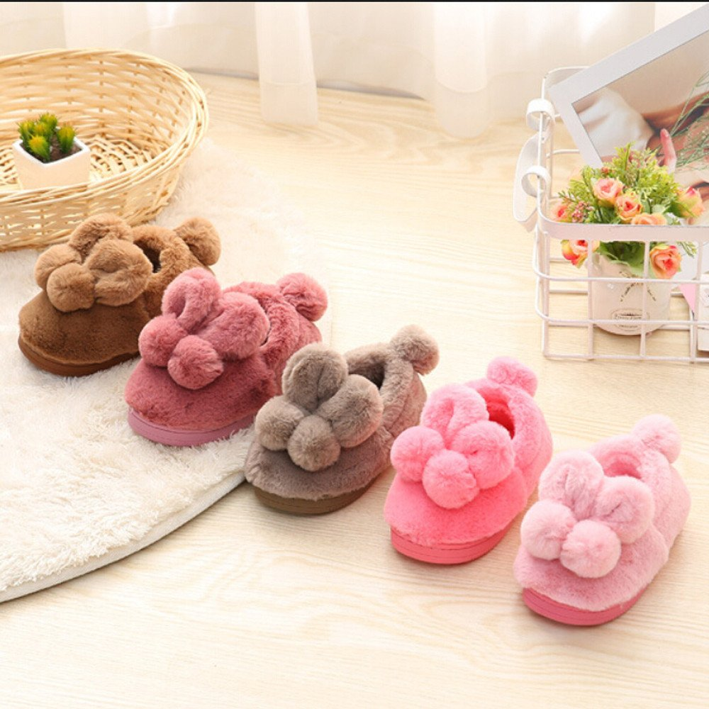 Dreamyth New Cute Toddler Bow Baby Girls Plush Soft Sole Non-Slip Warm Velvet Snow Shoes