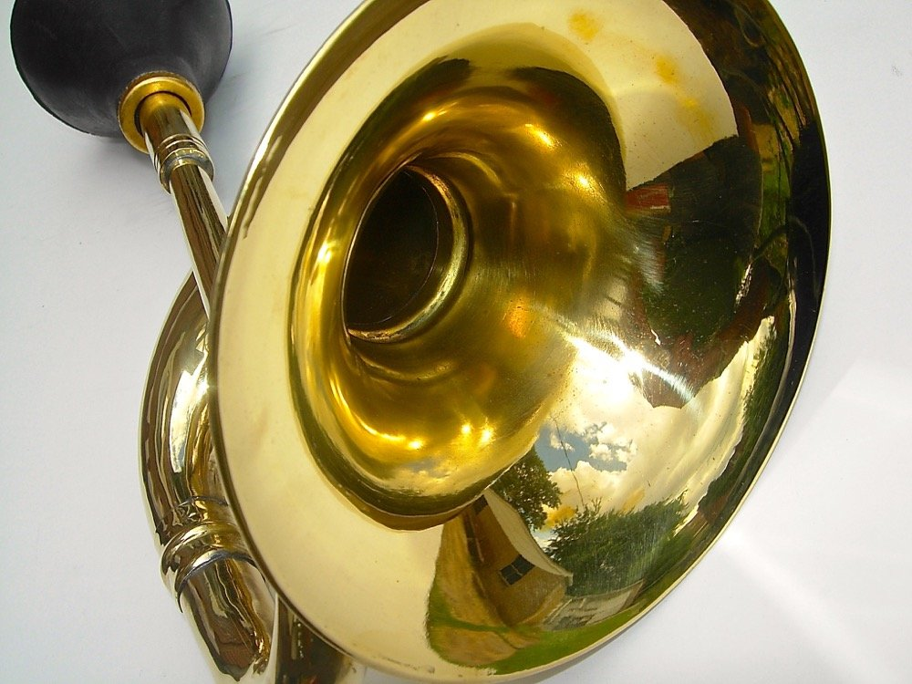 Large Brass Bulb Horn by Folkroots