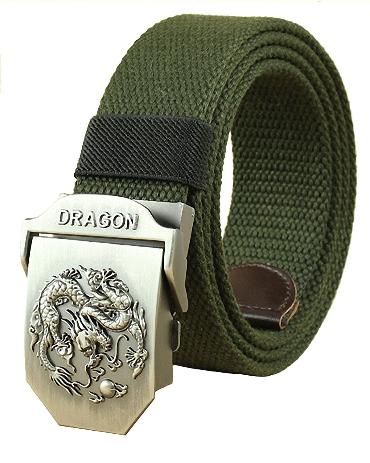 Mens Belt Canvas Web Belts for Men Military Style Smooth Buckle Outdoor Casual Belt 50 Inch