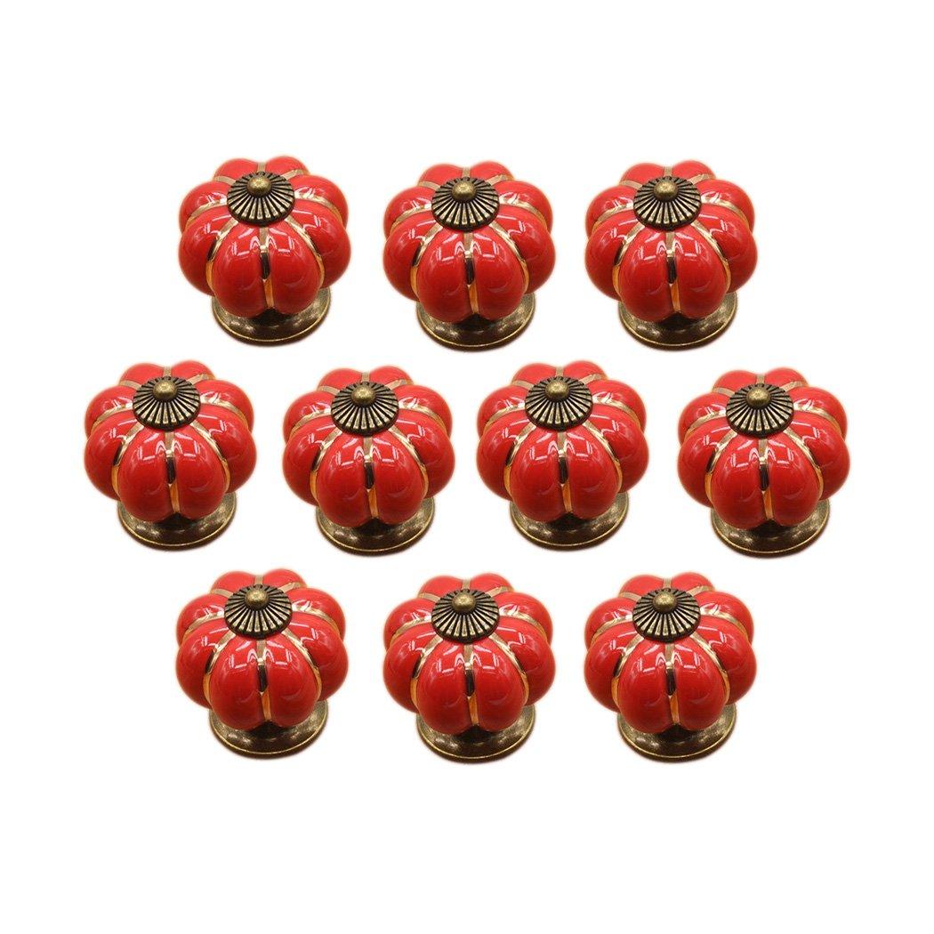 Poigné e de forme de potiron en cé ramique bouton commode armoire de cuisine placard tiroir poigné es 10 Pack, Noir HRJ