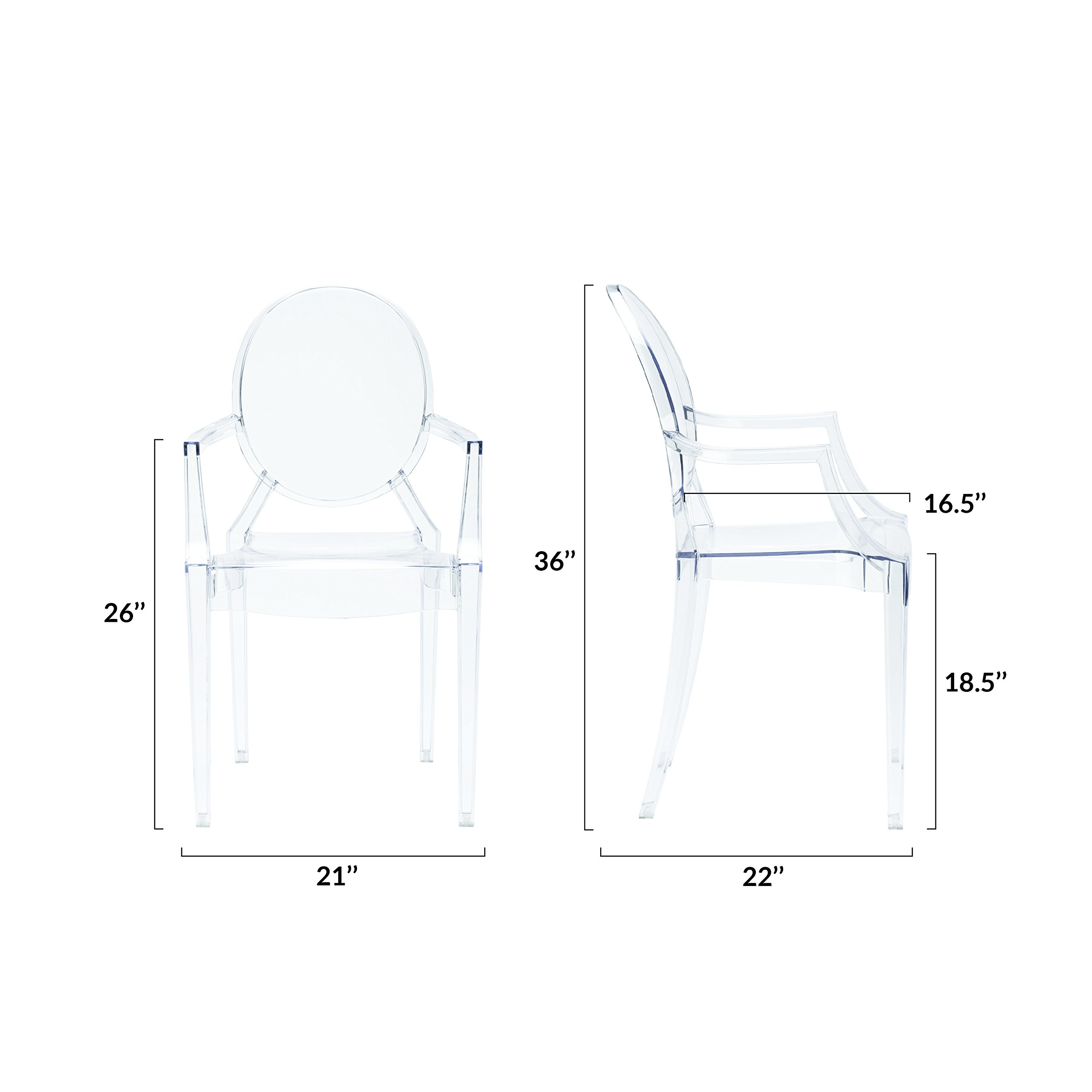 Poly and Bark Burton Arm Chair in Clear (Set of 4) by POLY & BARK (Image #6)