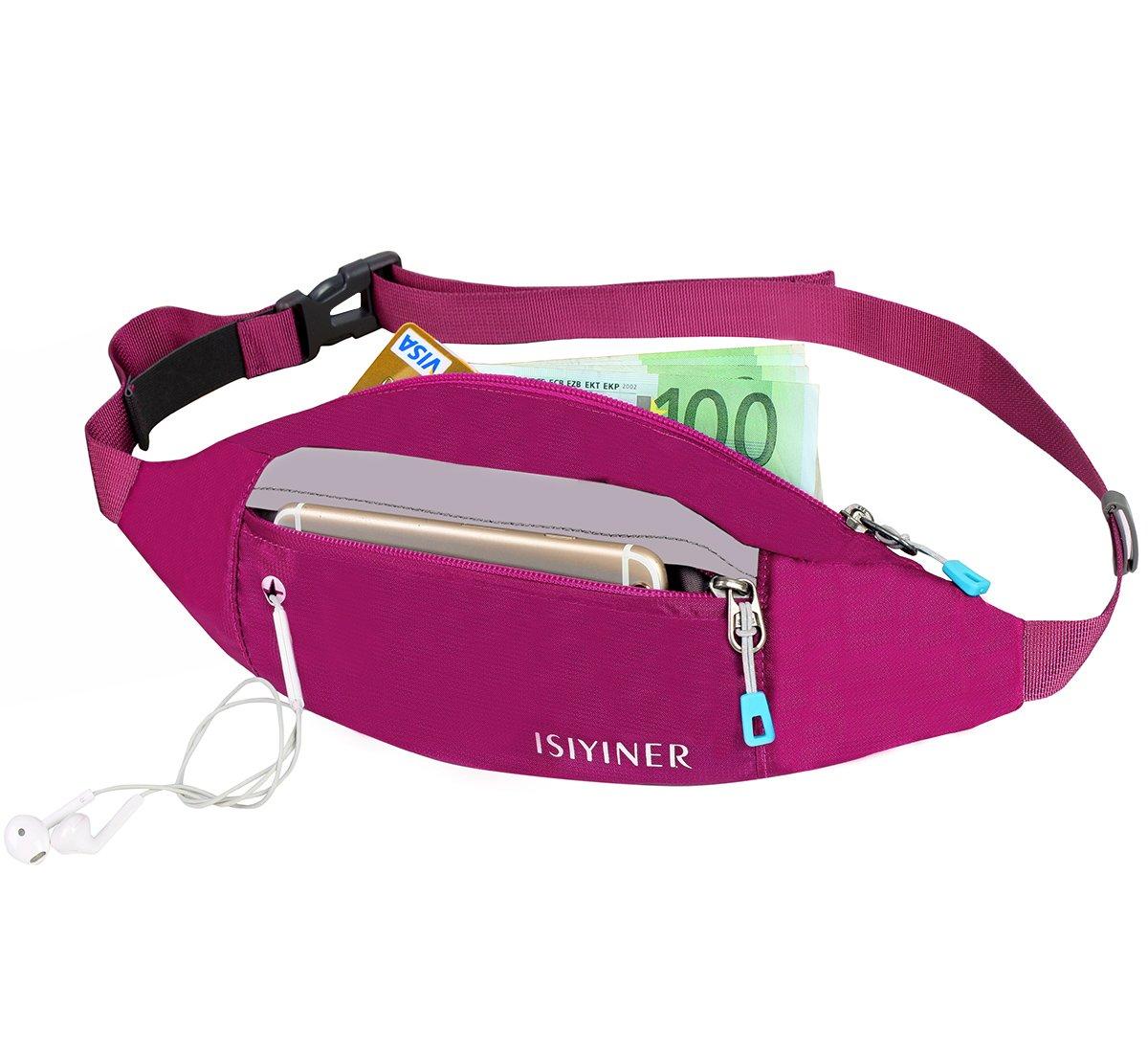 Sac Banane,ISIYINER Ceinture Etanche Running Belt Portable pour Escalade Jogging Randonnée Voyage stocker un smartphone un passeport et des billets connexion d'écouteurs .
