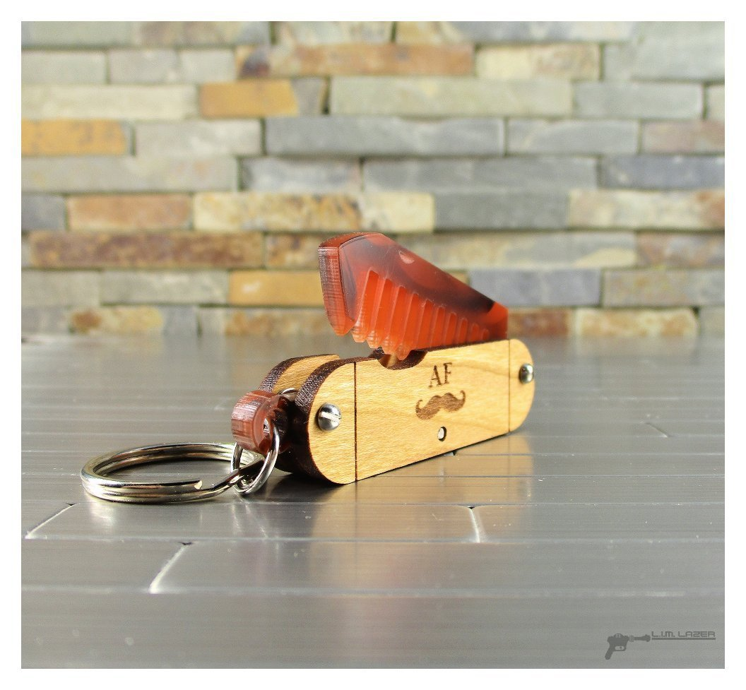 Mini Pocket Knife Mustache Comb in Hardwood and Bamboo with Engraved Details