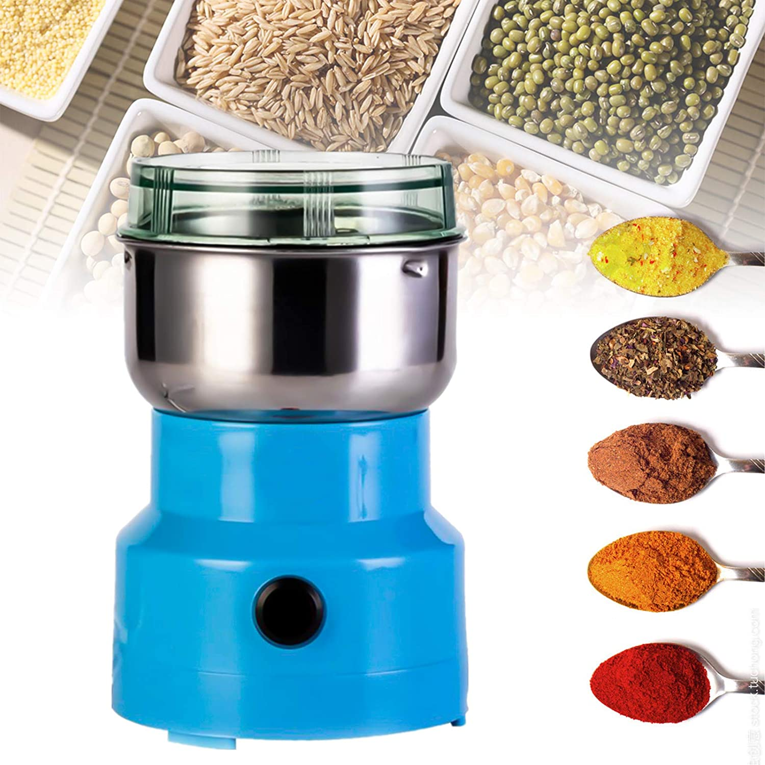 Asionper Multifunction Smash Machine Grinder Household Electric Grain Grinder Ultra Fine Dry Food Coffee Bean Grinder Seasonings Spices Mill Powder for Cereal/Spice/Herb/Cereal/Beans/Pet Food Blue