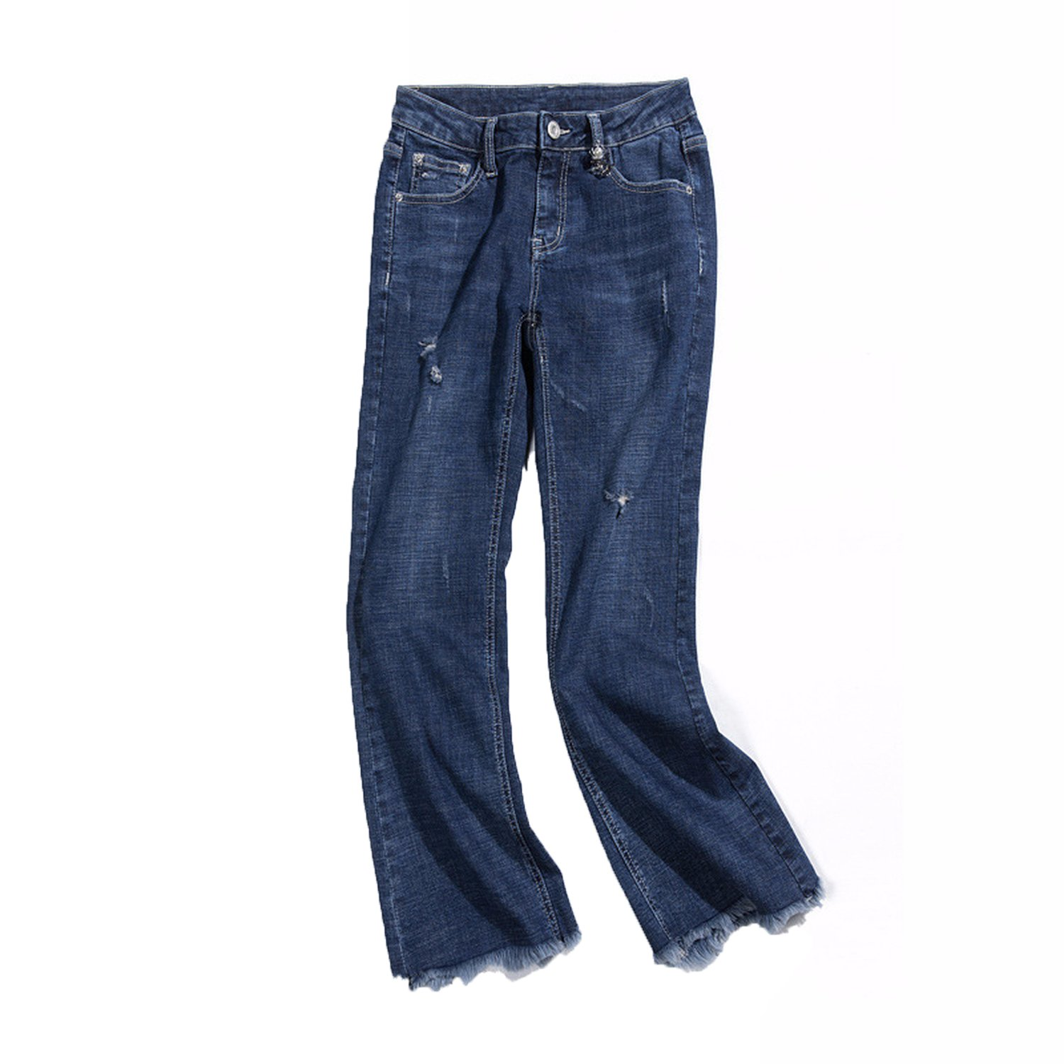 Spring Hole Jeans Female Rims was Thin Wild Micro-pu Pants Female Nine Pants Female Bell-Bottoms s88