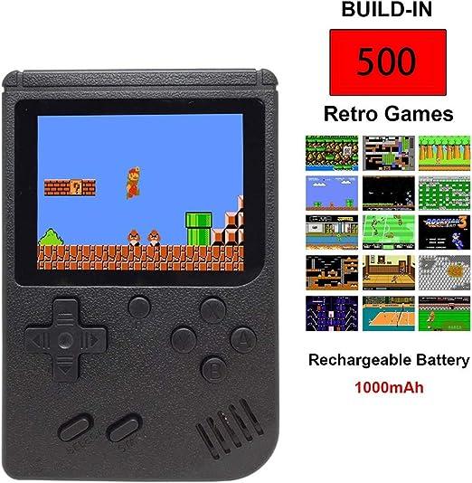 WXH Retro Consola De Juegos Portátil Consola De Juegos Portátil Pantalla A Color De 3.0 Pulgadas FC Incorporado En 500 Juegos Clásicos Se Pueden Conectar A La TV, Apto para Adultos/Niños,Negro: Amazon.es: