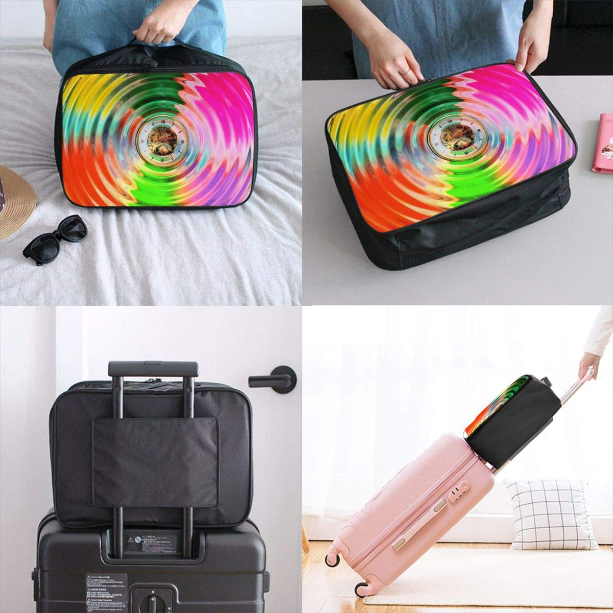 Circle Wave Clock Time Eternal Travel Lightweight Waterproof Foldable Storage Carry Luggage Large Capacity Portable Luggage Bag Duffel Bag