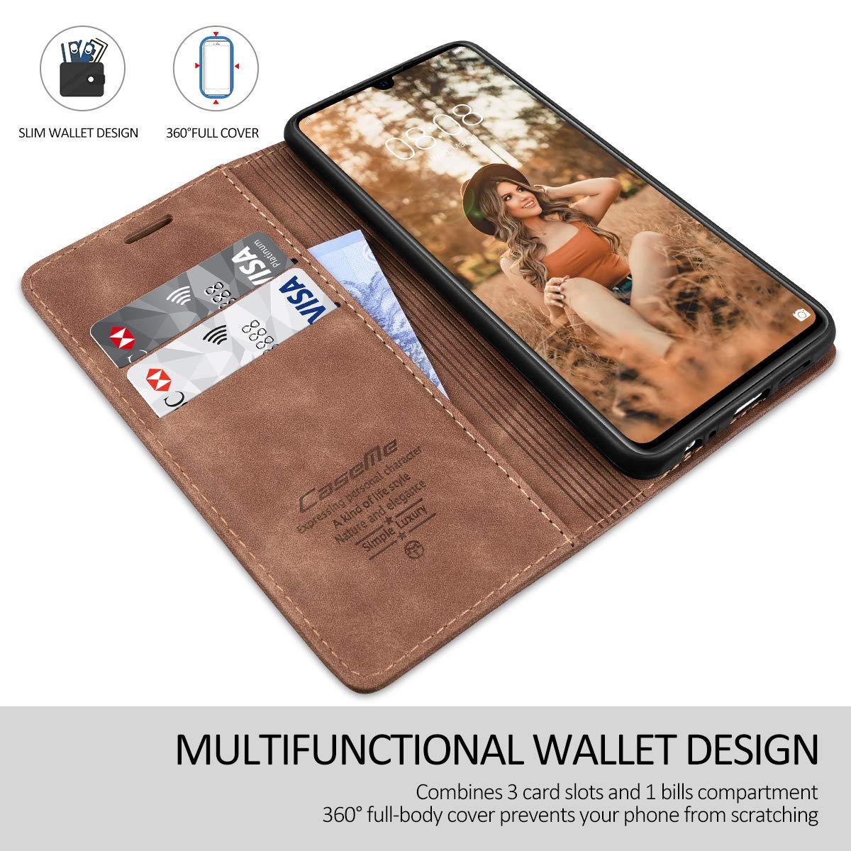 RuiPower para Funda Huawei P30 Lite Libro con Tapa Flip Folio Case de PU Cuero Silicona Soporte Plegable Ranuras Tarjetas y Billetera Magn/ético Carcasa Huawei P30 Lite Negro