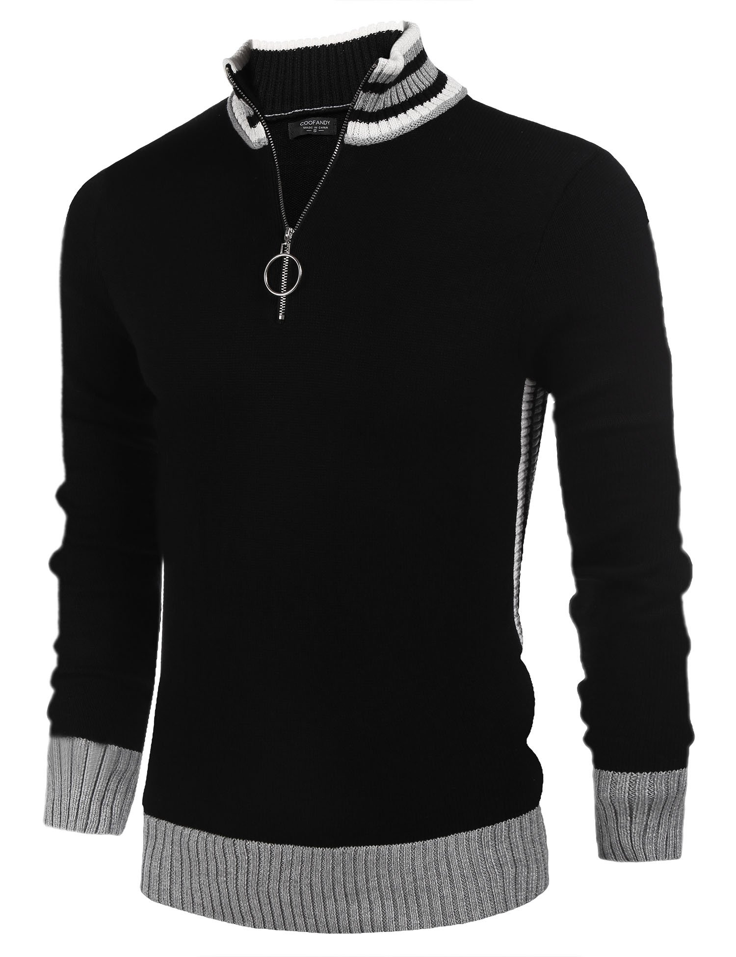 COOFANDY Men's Business Casual Crew Neck Long Sleeve Sweater Quarter-Zip Pullover by COOFANDY (Image #1)