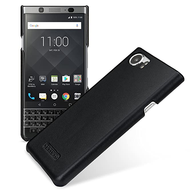 watch 35520 3f2f3 TETDED Premium Leather Case for BlackBerry KEYone, Snap Cover (Prestige  Black)