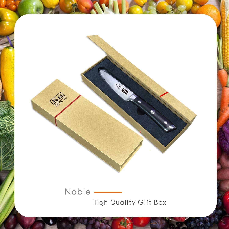 con Confezione Regalo CLASSIC Series SHAN ZU Coltelli per Frutta Professionali Acciaio al Carbonio Coltello da Cucina 9.5cm 3.75 inch