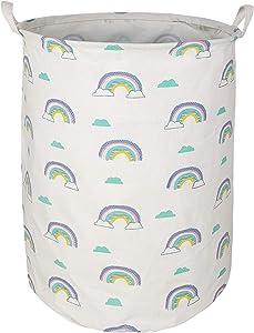 KUNRO Large Sized Storage Basket Waterproof Coating Organizer Bin Laundry Hamper for Nursery Clothes Toys (Rainbow)