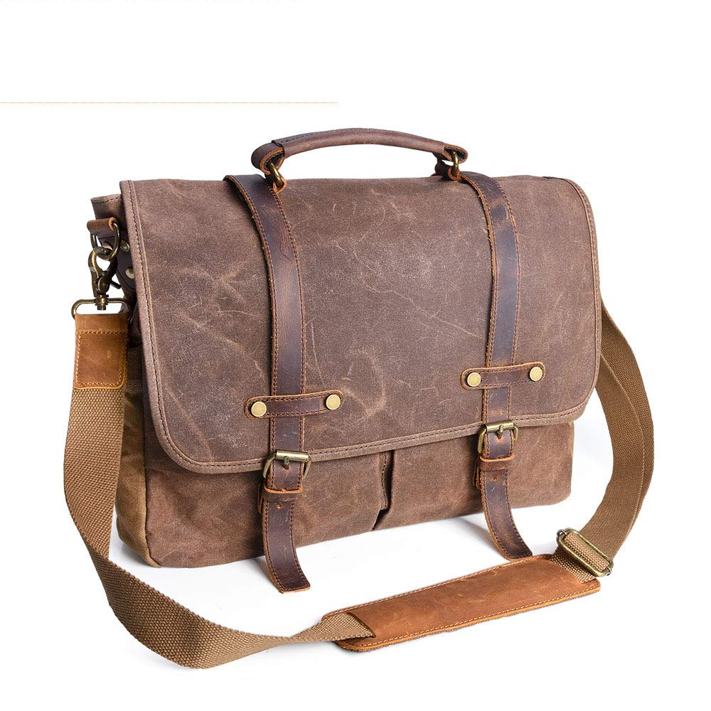 Mens Messenger Bag 17.3 Inch Waterproof Vintage Waxed Canvas Genuine Leather Satchel Retro Briefcase Shoulder Bag Rugged Business Computer Laptop Leather Bag