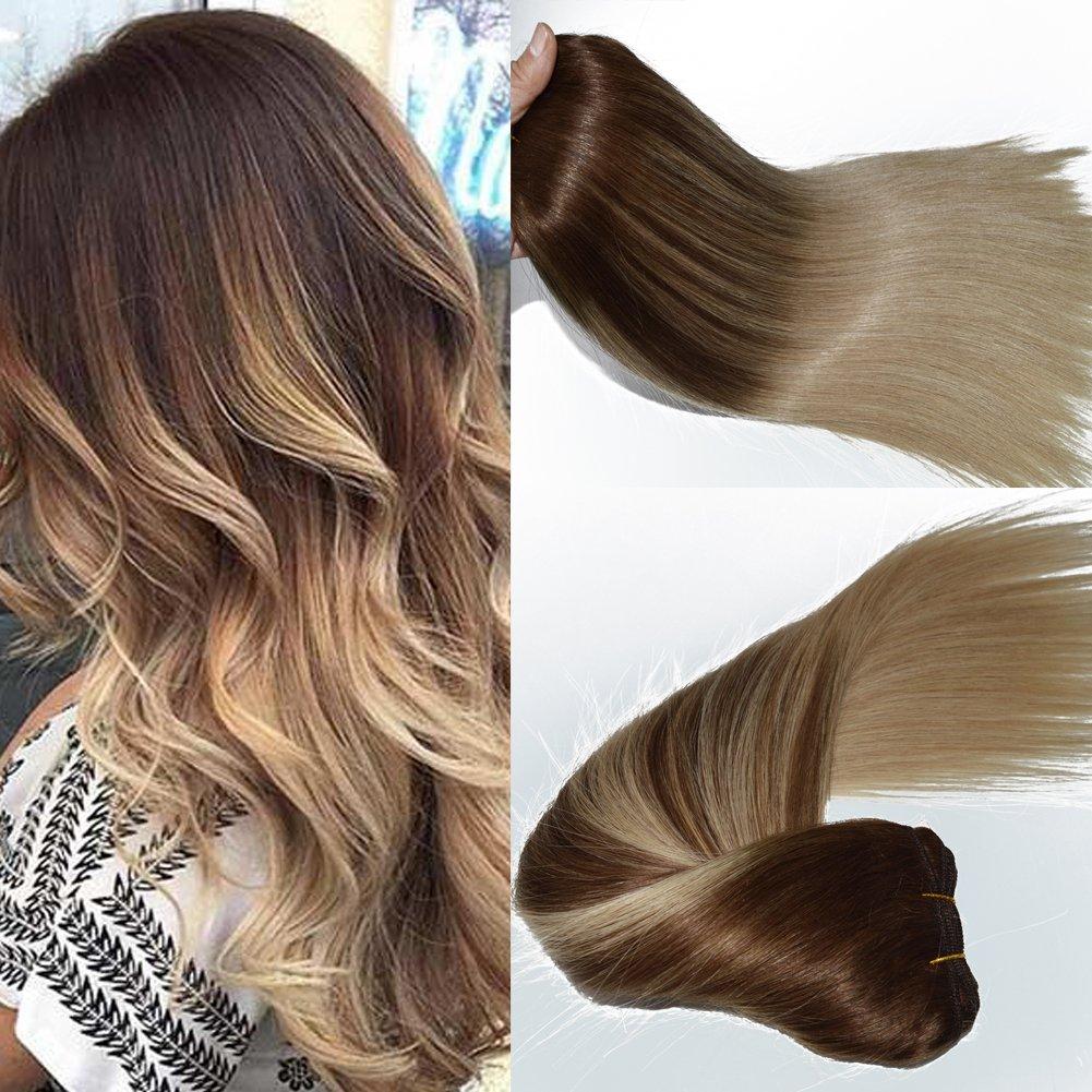 Full Set Balayage Natural Baby Blonde Highlights Clip In Human Hair