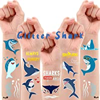 Partywind 34 Styles Metallic Glitter Shark Temporary Tattoos for Kids, Shark Ocean Theme Birthday Decorations Party…