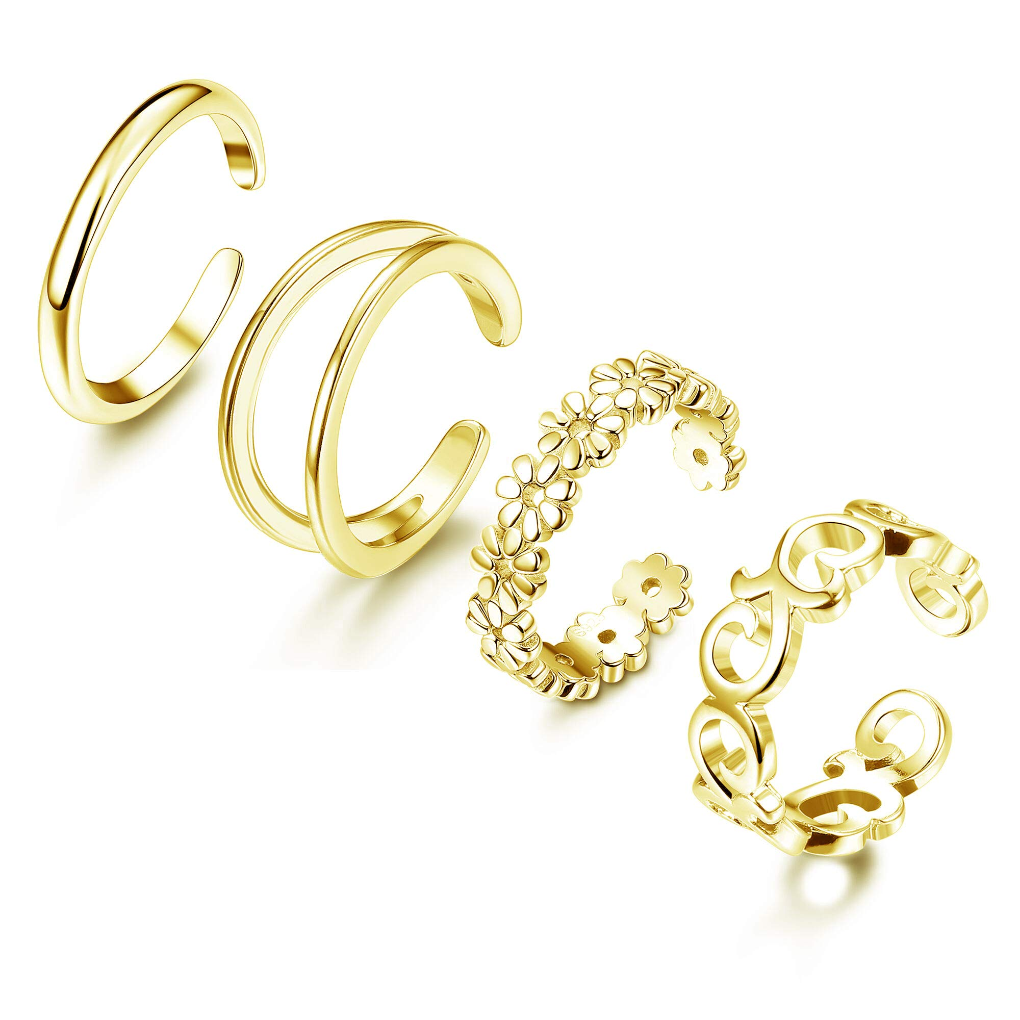 Adramata 4 Pcs 925 Sterling Silver Toe Rings for Women Open Adjustable Band Rings Jewelry Set