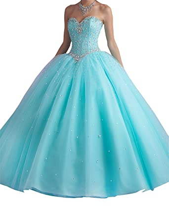 Dressyu A-line Princess Long Quinceanera Dresses Sweet 15 Formal Prom Gowns Blue US 2
