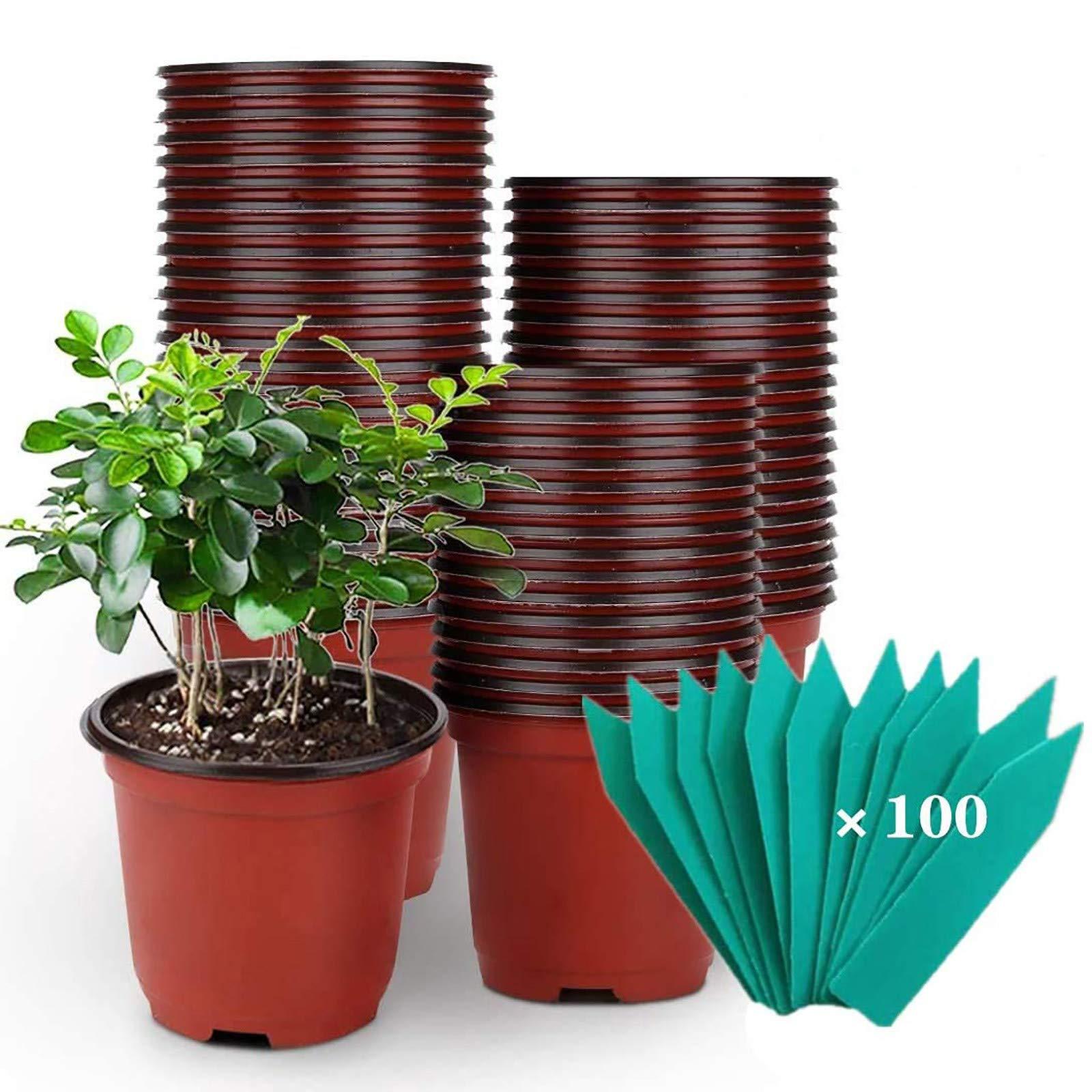 SHEEFLY 100 Pack Plant Nursery Pots 4 inch Plastic Plant Pots Soft