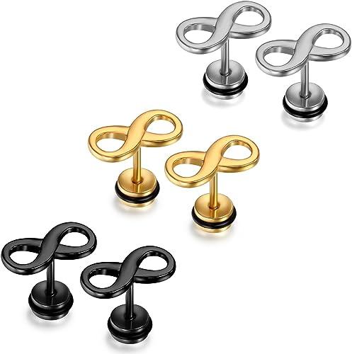 Finrezio 12 Paires Noires Boucles d/'Oreilles Ronde Acier Inoxydable pour Homme Femme Clou d/'Oreille Piercing 6-12MM