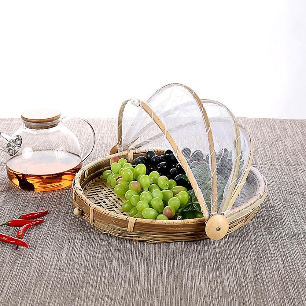 Su-luoyu Cesta de bamb/ú con agujeros A prueba de moscas y a prueba de insectos cestas a prueba de polvo cestas de pan de frutas con redes Cubierta vegetal Cubierta de frutas
