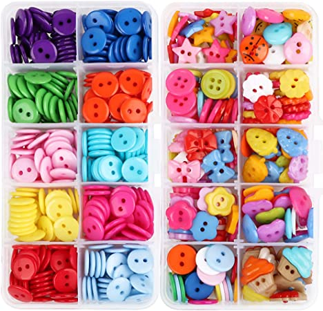 VINFUTUR 2 Cajas de Botones Resina Colores Botones Plástico Costura Botones Mezclados para Manualidad Artesanía DIY Coser-590pcs: Amazon.es: Hogar