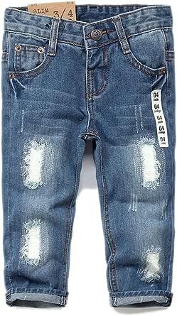 Kidscool Jeans suaves y delgados con agujeros rasgados para bebés y niños pequeños