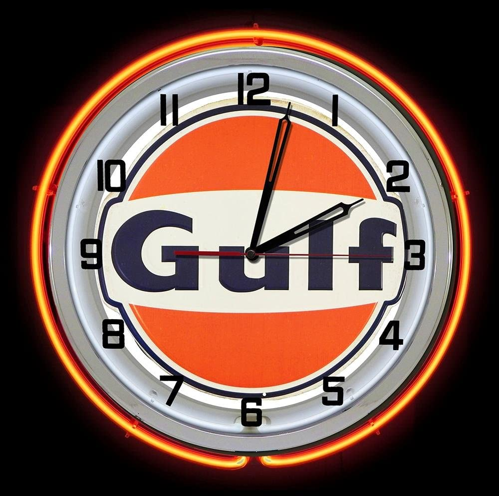 "Citgo Gasoline Oil 19/"" Double Neon Clock Blue Neon Man Cave Garage Gas Station"