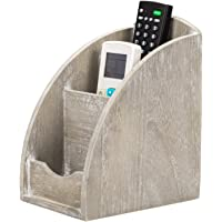 NEX Remote Control Holder, 3 Slot Wooden Remote Control Caddy Media Organizer, Office Supply Storage Rack(Rustic Gray)
