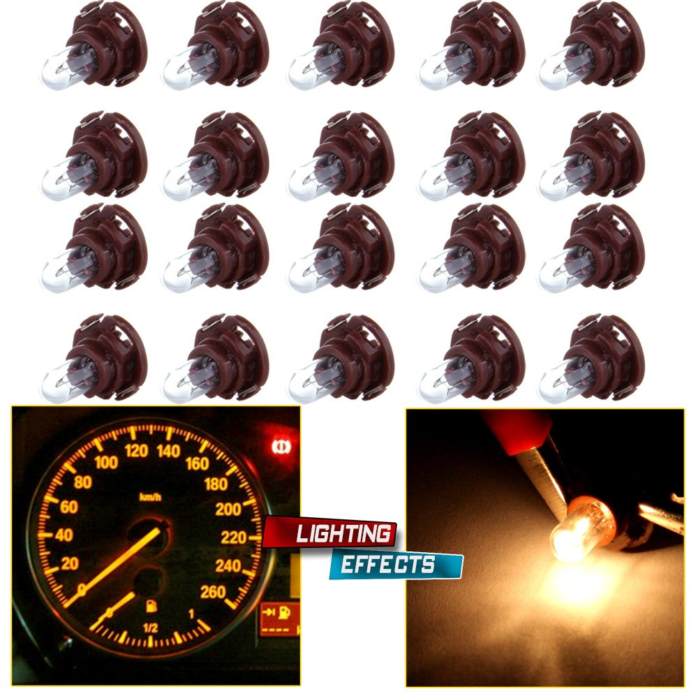 cciyu 20 Pack Warm White T5/T4.7 Neo Wedge Halogen A/C Climate Control Bulb 12V