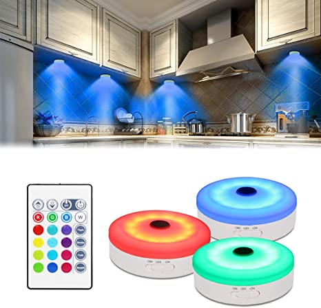 6 Pack RGB Dimmable LED Cupboard Lighting Night Lights 4 Colors Ideal for Kitchen Bookcase Showcase Closet Pantry 3 Lighting Modes Rechargeable Under Cabinet Lights Puck Lights