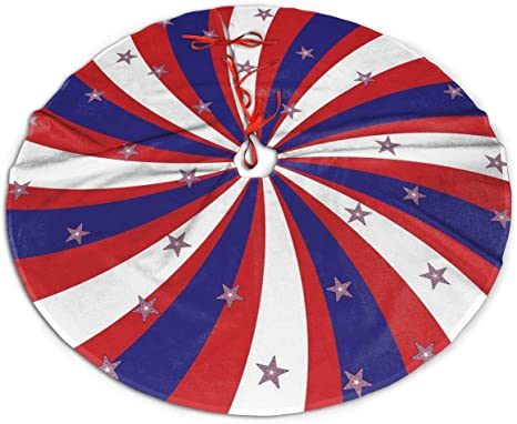 Christmas Tree Skirt 48 Inch Patriotic American Flag Stars and Stripes Xmas Holiday Party Supplies Large Tree Mat Decor for Indoor Outdoor Home Ornaments