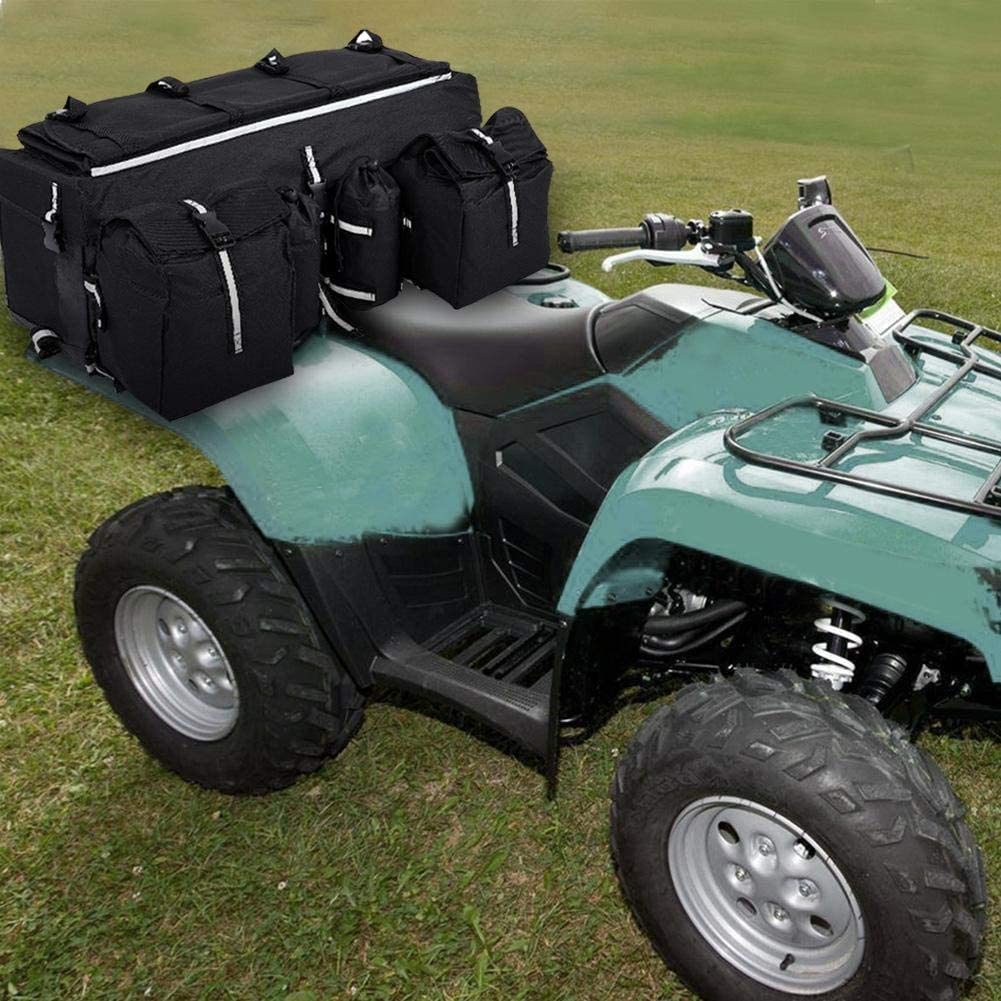 Sac de Selle pour VTT VTT Wakects Sac Quad ATV Souple Universel Noir Poche sur Le si/ège arri/ère 68 x 27 x 21 cm ATV Quad r/éservoir /à charni/ère