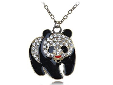 42fa77719e40e Alilang Womens Antique Gold Tone Clear Rhinestones Giant Panda Bear Pendant  Necklace