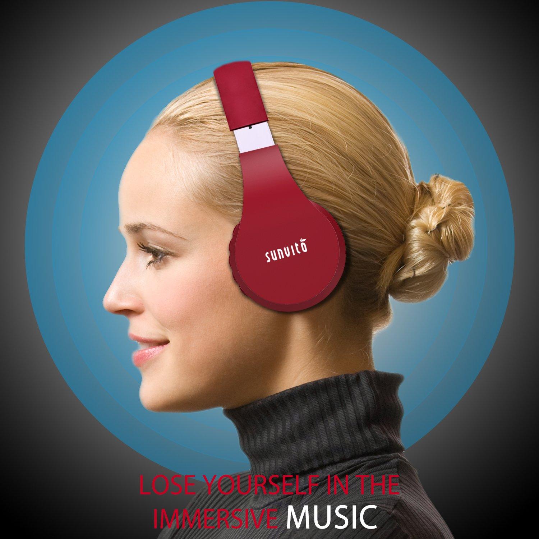Bluetooth Kopfhörer, Sunvito Faltbarer Drahtloser Stereo Headset mit Mic, FM Radio Unterstützungs-TF Karte und Aux Spiel (Weinrot)