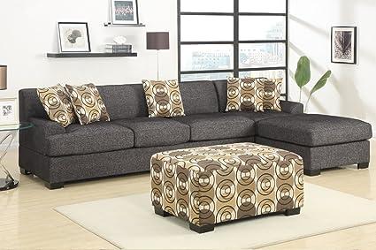 Amazon.com: 3 pieces Faux Linen Sectional Sofa with Ottoman (Ash ...