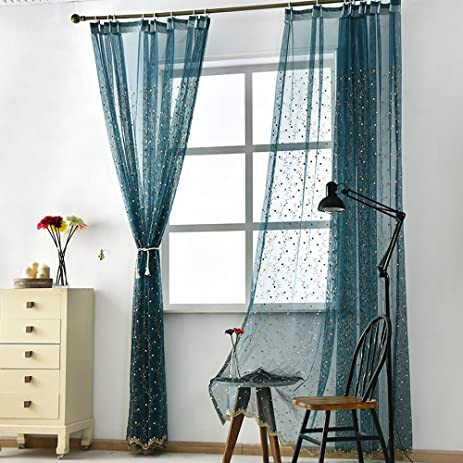 Navy Sheer Curtains Voile Drapes