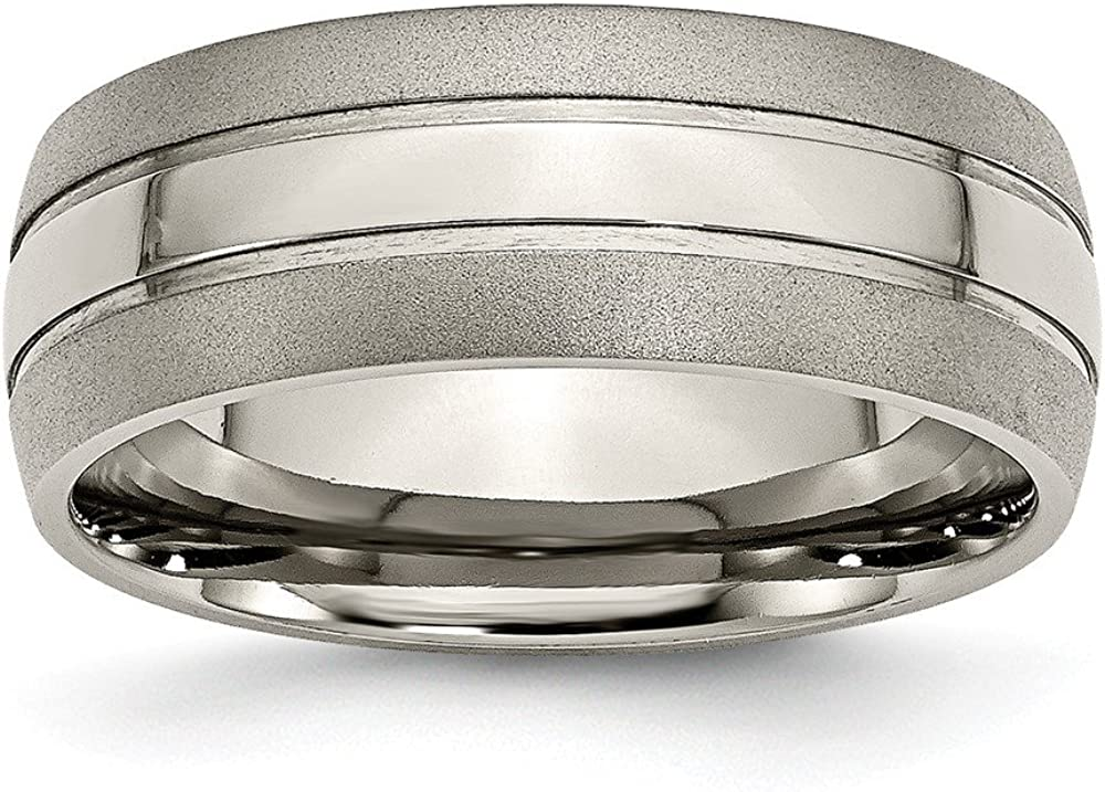 Titanium Grooved 8mm Brushed and Polished Band Size 9.5 Length Width 8