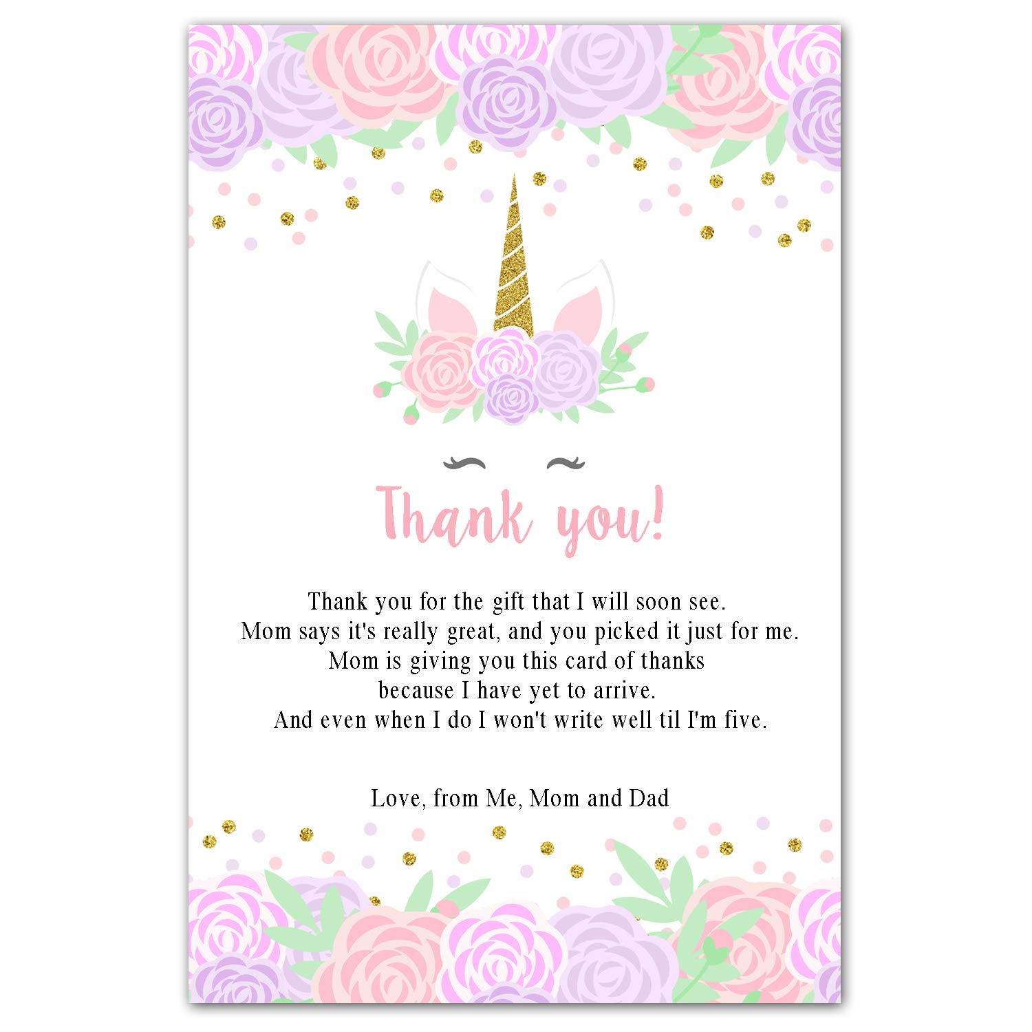 30 Thank You Cards Unicorn Baby Shower Personalized Photo Paper