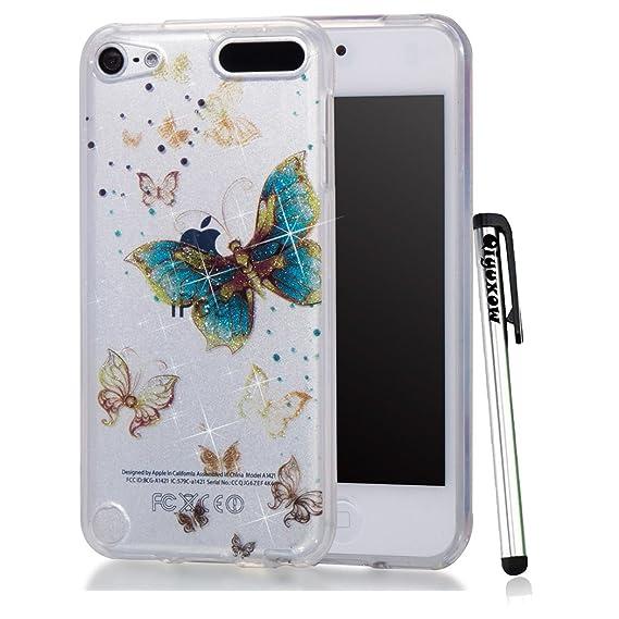 new styles b2d6b f51e2 iPhone 8 Case, Qiyuxow iPhone 7 CLEAR Case Soft Bright Glitter Sparkle Art  Print Anti-Scratch TPU Bumper Case for Apple iPhone 7 & iPhone 8 (Blue Gold  ...