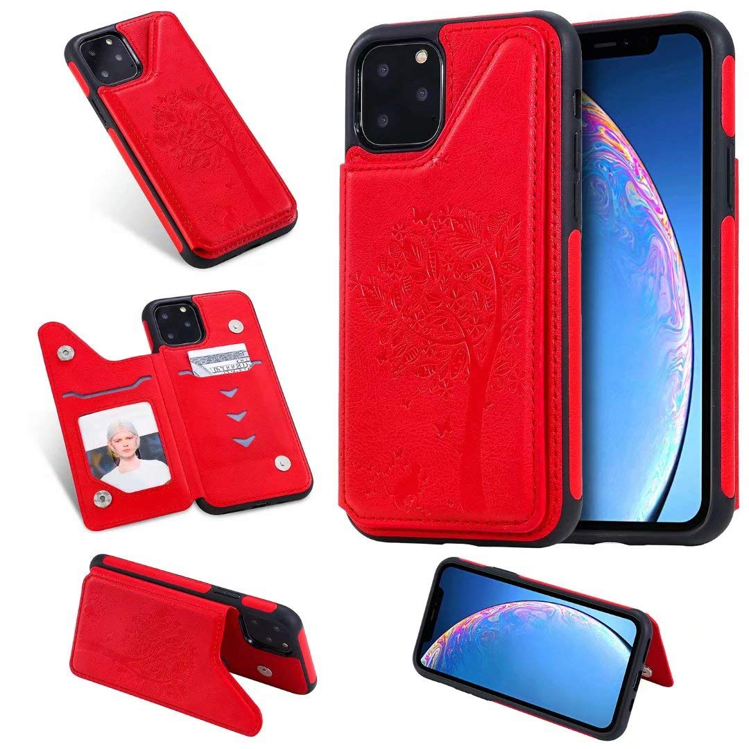 DAMONDY Wallet Case for iPhone 11 Pro Max,Emboss Tree Cat Slim Protective Case with Credit Card Slot Holder Flip Folio Soft PU Leather Magnetic Closure Cover Case for iPhone 11 Pro Max 6.5-red by DAMONDY