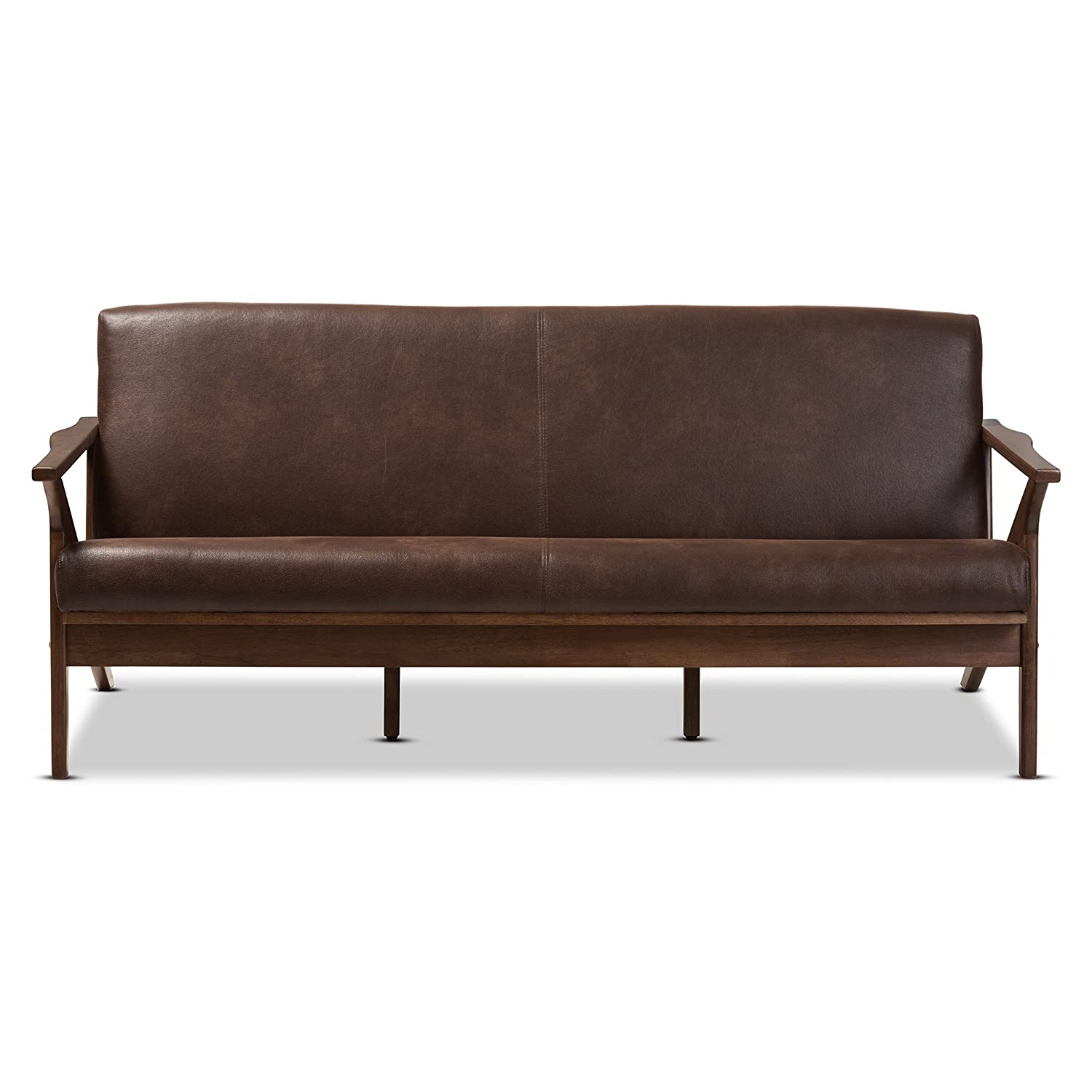 Baxton Studio Bianca Faux Leather Sofa in Dark Brown and Walnut Brown