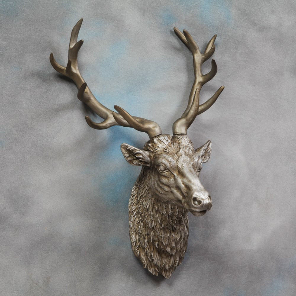 Large deer stag head wall mount antique silver beautiful wall large deer stag head wall mount antique silver beautiful wall art stag with antlers resin amazon kitchen home amipublicfo Gallery
