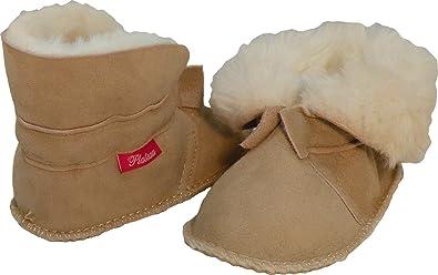 nouveau concept 6fdb3 79627 Plateau Tibet - VERITABLE laine d'agneau Bottines Chaussures Chaussons en  cuir souple doublure pour bébé garçon fille enfant - Beige 20 21