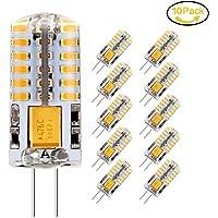 Ampoule LED G4, Jpodream 3W 48*3014 SMD Ampoules Économie D'énergie, 300 LM, 30W Ampoule Halogène équivalente, Blanc Chaud 3000K, AC / DC 12V, 360° Angle de Faisceaux - Pack de 10