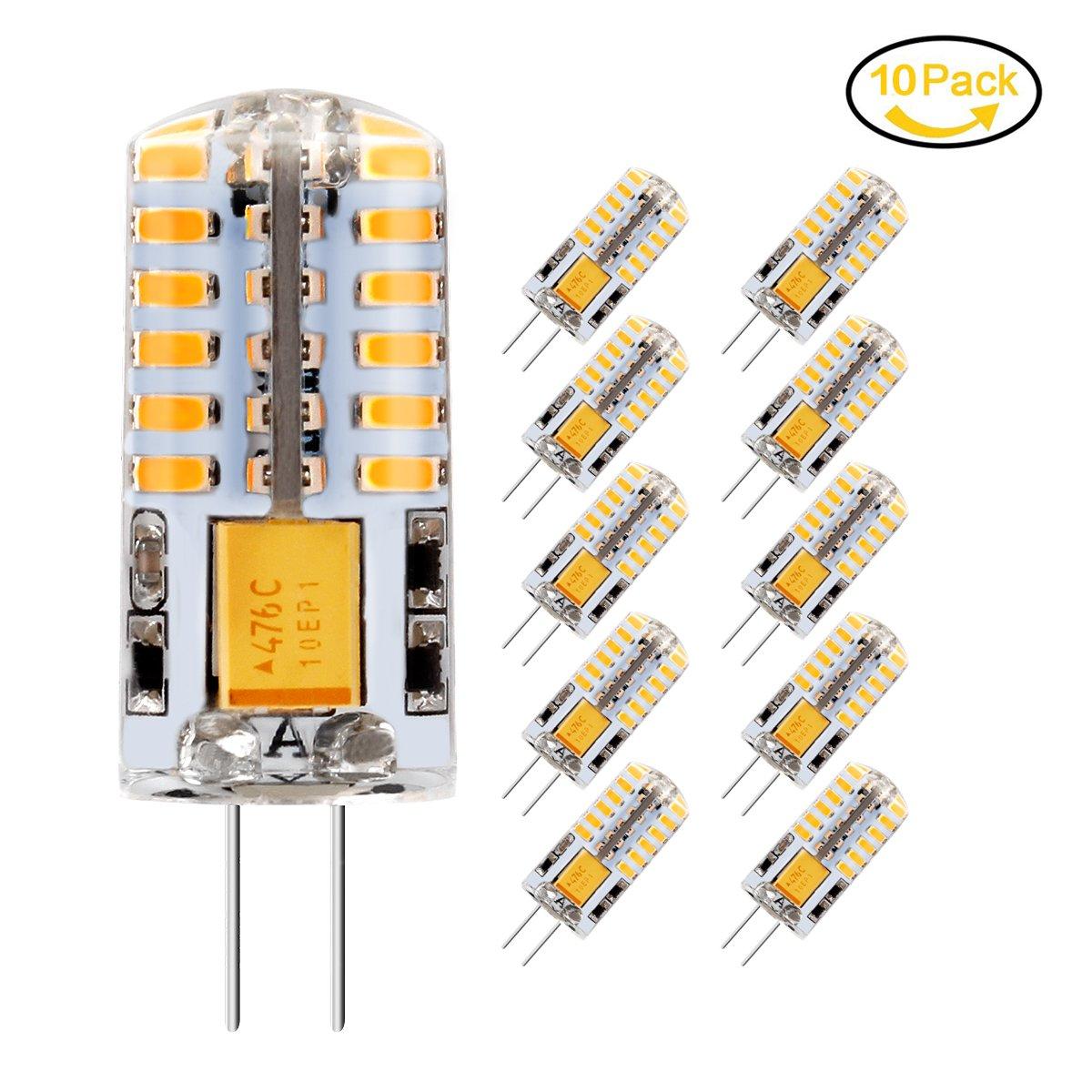 10 x Ampoule LED G4, Jpodream 3.5W 48*3014 SMD LED Lampe, Blanc Chaud 3000K, 35W Ampoule Halogène équivalen, 300 LM, 360° Faisceaux, AC / DC 12V 35W Ampoule Halogène équivalen 360° Faisceaux Mtodreamo 761780397017