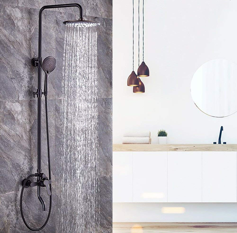 Bath European Style Black Copper Accessories, Wall-Mounted 8 Inches Top Spray Waterfall Take A Shower Faucet, Hand Shower Single Handle Hot and Cold Water 3-Hole Installation