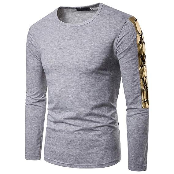 Resplend Camiseta de Manga Larga con Cuello en V para Hombre, Casual, de otoño, con Cuello en V Top de la Blusa con Top de Patchwork: Amazon.es: Ropa y ...