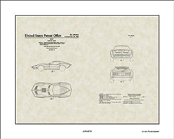 Amazon.com: Corvette Patent Arte para colgar en la pared ...
