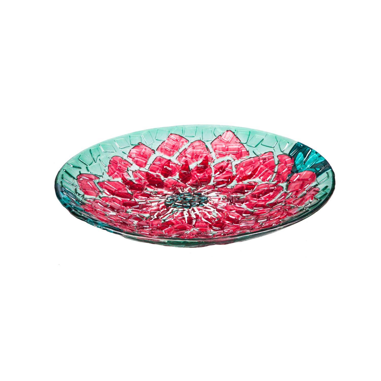 Evergreen Garden Pretty in Pink Glass Birdbath Bowl, 18 inches
